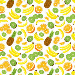 Seamless background with fresh whole pineapples, oranges, kiwi and bananas on white background. Vector illustration