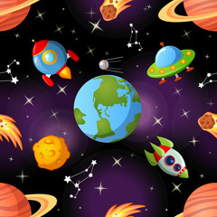 Childish seamless space pattern with Earth, saturn, UFO, rockets moon and stars