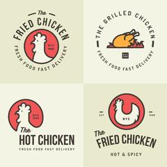 Set of chicken meat logo, badges, banners, emblem and design elements for food shop and restaurant. Vector illustration.