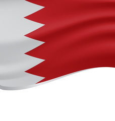 Waving flag of Bahrain isolated on white