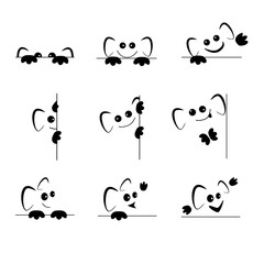 Funny emoticons with ears and paws with different emotions