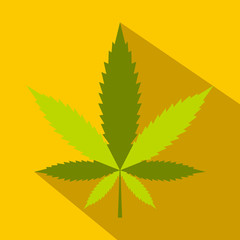 Hemp leaf icon, flat style