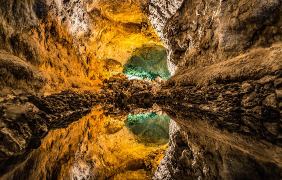 Optical illusion - water reflection in Cueva de los Verdes, an amazing lava tube and tourist attraction on Lanzarote island, Spain