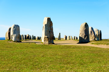 The megalithic monument Ales stones in southern Skane, Sweden, is a stone ship of 67 meters. It is a famous travel attraction with public access. Site is believed to be around 1400 years old. Wall mural