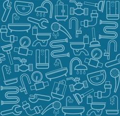 Plumber, background, seamless, sanitary tool, dark blue.