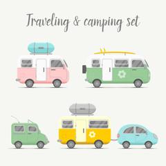 Vector transport caravan set. Types of trailers