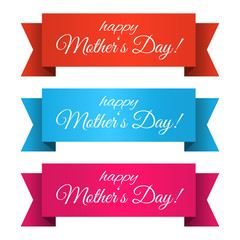 Mothers Day ribbons. Isolated. Mothers day elements. Vector graphics for your design in trendy style. Happy Mothers Day!