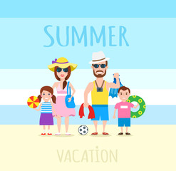 summer family vacation concept illustration.happy family mother father daughter and son on the beach