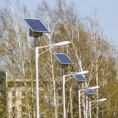 Street lamps with solar panels. Square image.