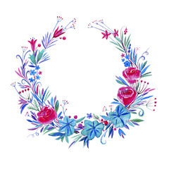 Wreath of flowers.Watercolor hand drawn illustration.White background.