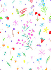 Floral seamless pattern.Pencil hand drawn illustration.White background.
