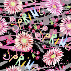 Gerber. Spring.Watercolor seamless pattern.