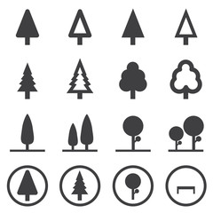 tree vector icons set