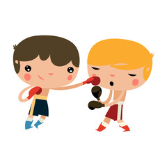 cute boxing kids. children fighting. boxing boys.