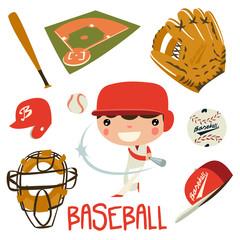baseball player boy. baseball equipment set.