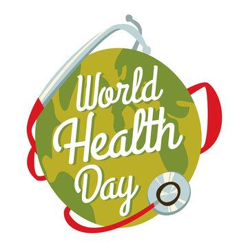 world health day. cartoon earth.