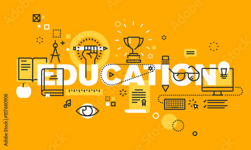 thin line flat design banner for education web page classical and