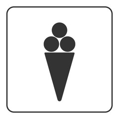 Ice cream icon. Ice-cream cool waffle cone sign. Black object isolated on white background. Symbol of delicious dessert, sweet cold food, summer, tasty flavor. Flat design element. Vector illustration
