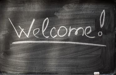 welcome on blackboard and chalks.