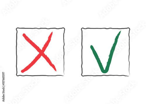 Check Mark Icons Tick And Cross Red And Green Signs In Frames
