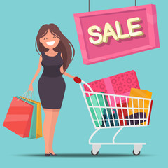 Girl with shopping cart and bags. Sale. Vector illustration