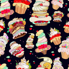 pattern with the image of the fantastic cakes