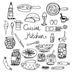 Kitchen set hand-drawn line sketches