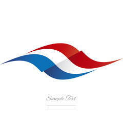 Abstract French flag ribbon logo white background