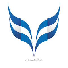 Abstract Greek eagle flag ribbon logo white background
