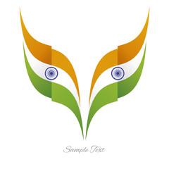 Abstract Indian eagle flag ribbon logo white background