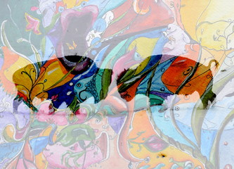 2 buffalos composed with an colorful watercolor picture