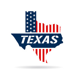 Texas patriotic map. Vector graphic design illustration