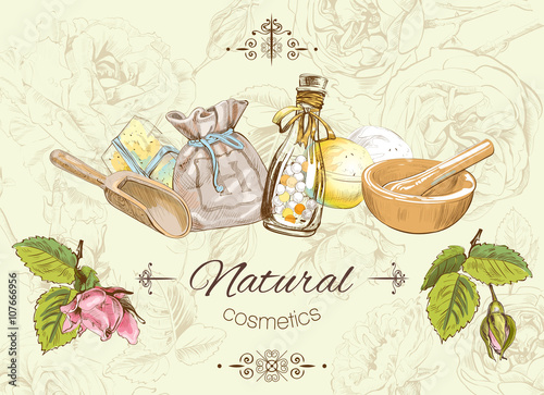 Vector Vintage Banner With Natural Products And Items On Herbal Background Design For Cosmetics