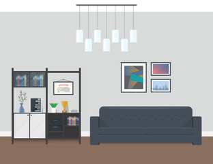 Interior design of modern living room. Recreation area in the office, hotel or apartment. Sofa and a bookcase for a pleasant pastime.