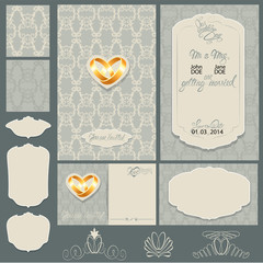 Set of Wedding invitation cards with floral elements, wedding ri