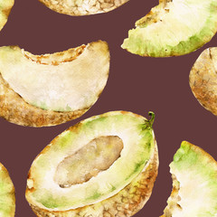 Seamless pattern with melon. Watercolor illustration.
