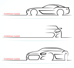 Sports car silhouettes set. Front, rear, side views. Vector illustration