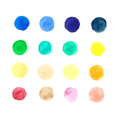 Collection of vector watercolor dots (circles) for design