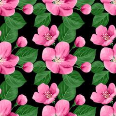Apple blossoms seamless pattern