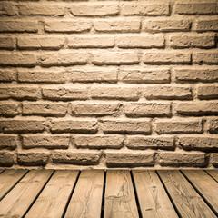 white brick wall  background on wooden floor