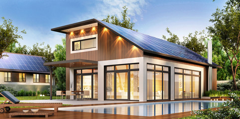 Modern house with solar panels on the roof
