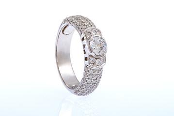 white gold wedding ring on white background