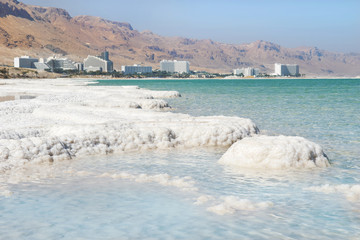 deposits of mineral salts, Dead Sea, Israel