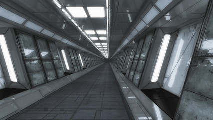 3d render. Futuristic spaceship interior