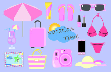 Summer vacation pink vector clipart