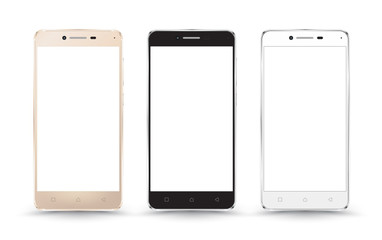 New realistic mobile phone smartphone collection mockups with blank screen isolated on white background. Vector illustration. for printing and web element, Game and application mockup.