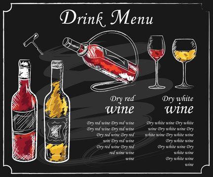 Drink menu elements on chalkboard. Restaurant blackboard for drawing. Hand drawn chalkboard  drink menu vector illustration. wine list, drink menu board, glass of the white wine and red wine