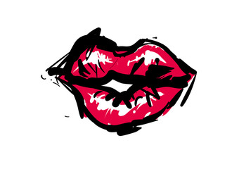 Fancy fashion sketch: red lips. Contrasty glamour sketch style. Isolated fashion art element with two inscription around. Simple greeting card or flyer