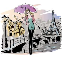 Wall Mural - Fashion girl rainy day in Paris