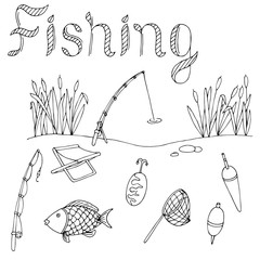 Fishing graphic art black white isolated illustration vector